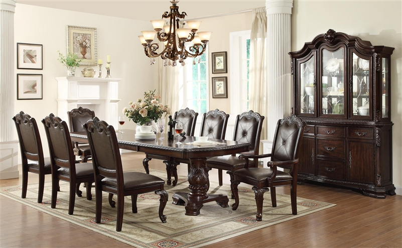 Kiera Complete Dining Set China Included In Rich Dark Brown Finish By Crown  Mark   2150C