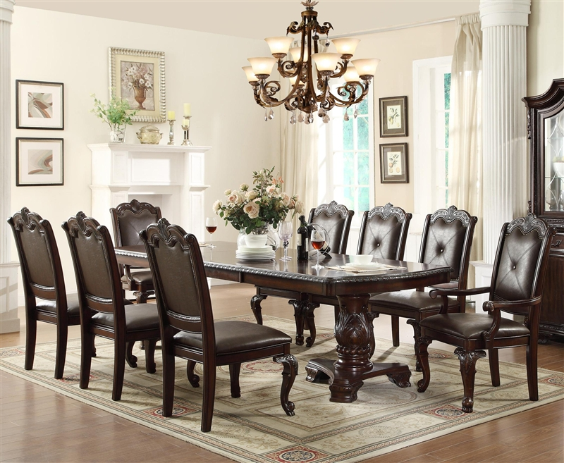 Charmant Kiera Complete Dining Set China Included In Rich Dark Brown Finish By Crown  Mark   2150C