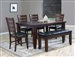 Bardstown 6 Piece Dining Set in Walnut Finish by Crown Mark - 2157-6