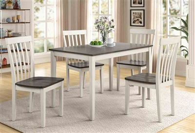 Brody 5 Piece Dining Set in White/Gray Finish by Crown Mark - CM-2182-WH-GY