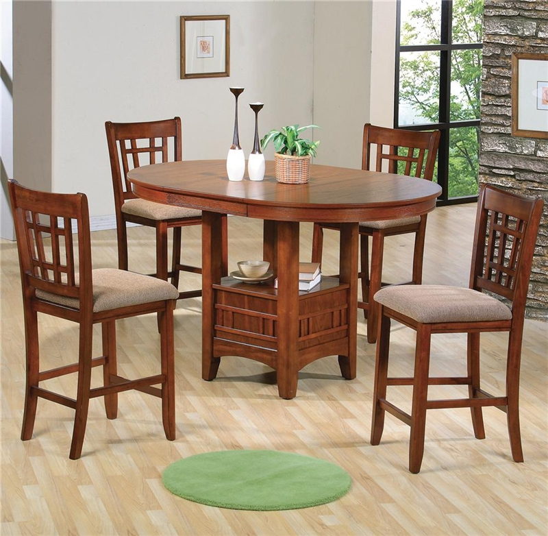 empire 5 piece counter height dining set in oak finish by crown mark 2185oak