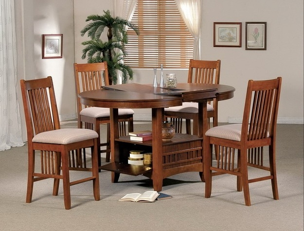 Mission 5 Piece Counter Height Dining Set In Oak Finish By Crown Mark   2193