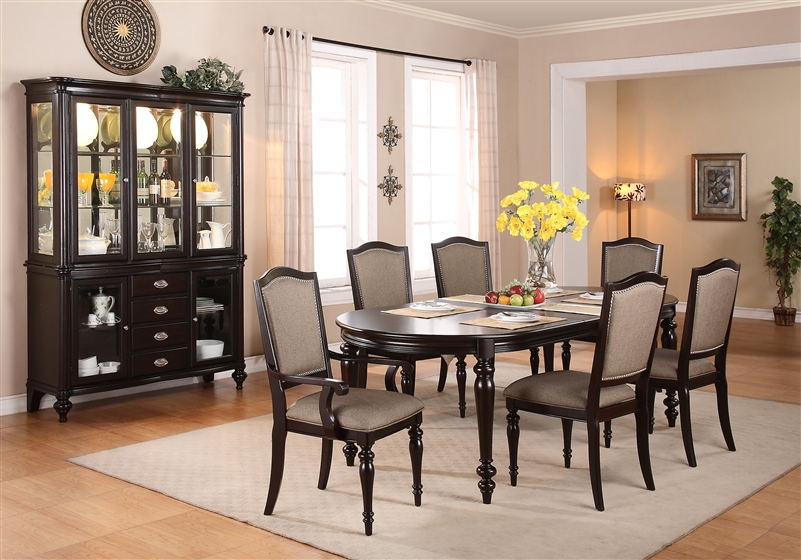 Complete Dining Set China Included In Espresso Finish By Crown .