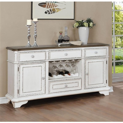 Bardot Sideboard in White and Brown Finish by Crown Mark - CM-2275-SB