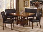 Salem 5 Piece Dining Set in Warm Brown Cherry Finish by Crown Mark - 2288
