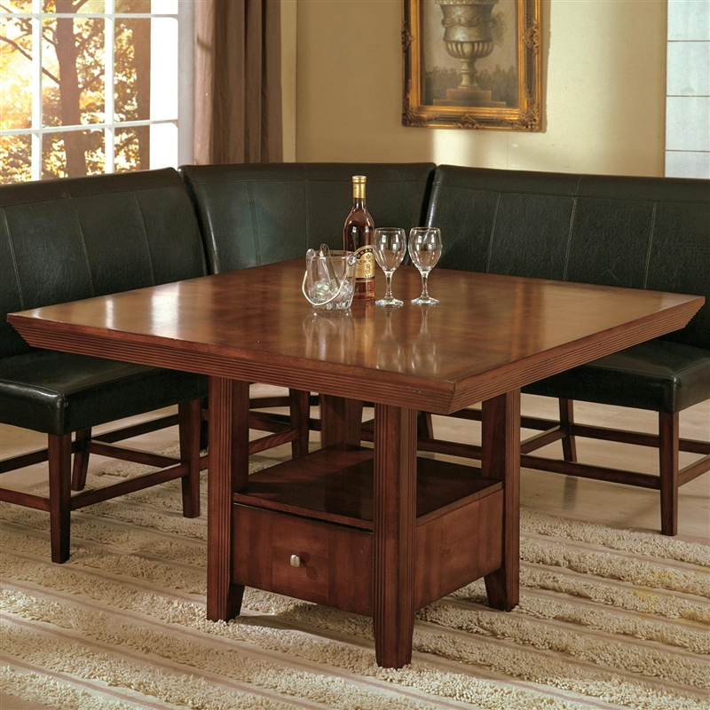 Salem 5 Piece Dining Set In Warm Brown Cherry Finish By