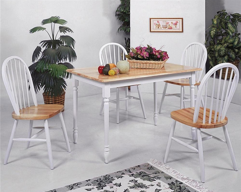 Farmhouse 5 Piece Dining Set In Natural White Finish By Crown Mark 2302wh