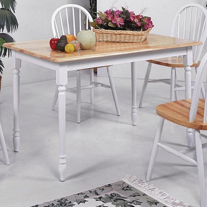 Farmhouse 5 Piece Dining Set In Natural U0026 White Finish By Crown Mark    2302WH