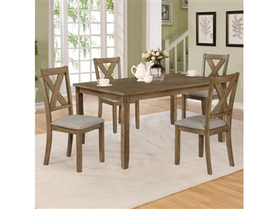 Clara 5 Piece Dining Set in Wheat Finish by Crown Mark - CM-2321WT
