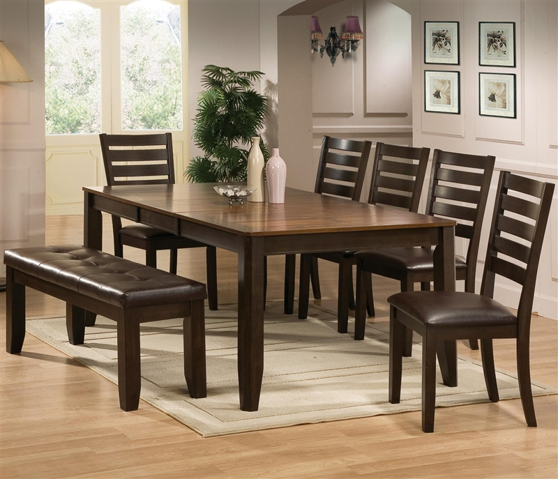 elliott 6 piece dining set in chocolate brown finish by crown mark