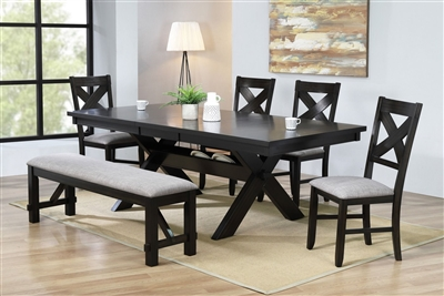 Havana 5 Piece Dining Set with Gray Fabric Chairs by Crown Mark - CM-2335-2336