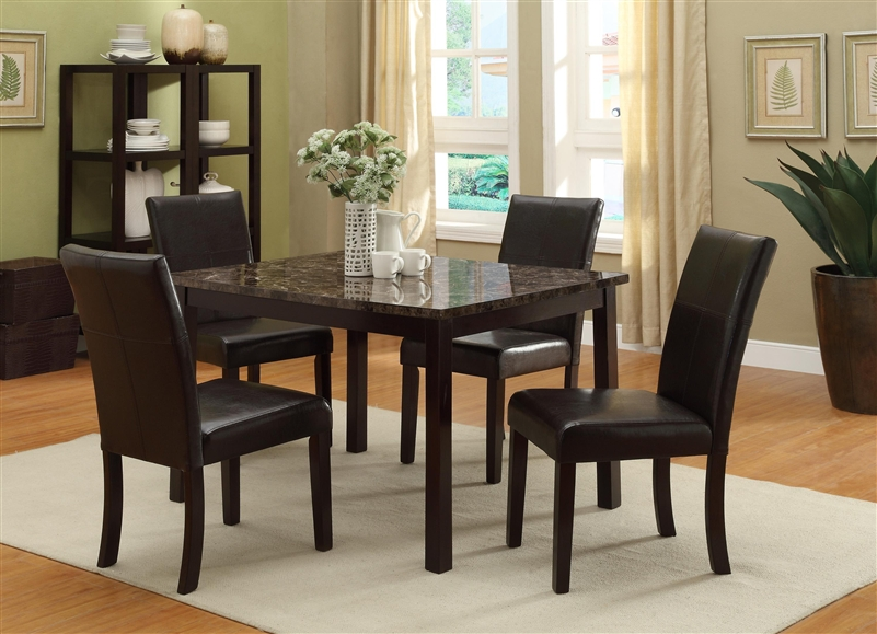 Pompei  Piece Dining Set In Dark Brown Finish By Crown Mark - 5 piece dining room sets