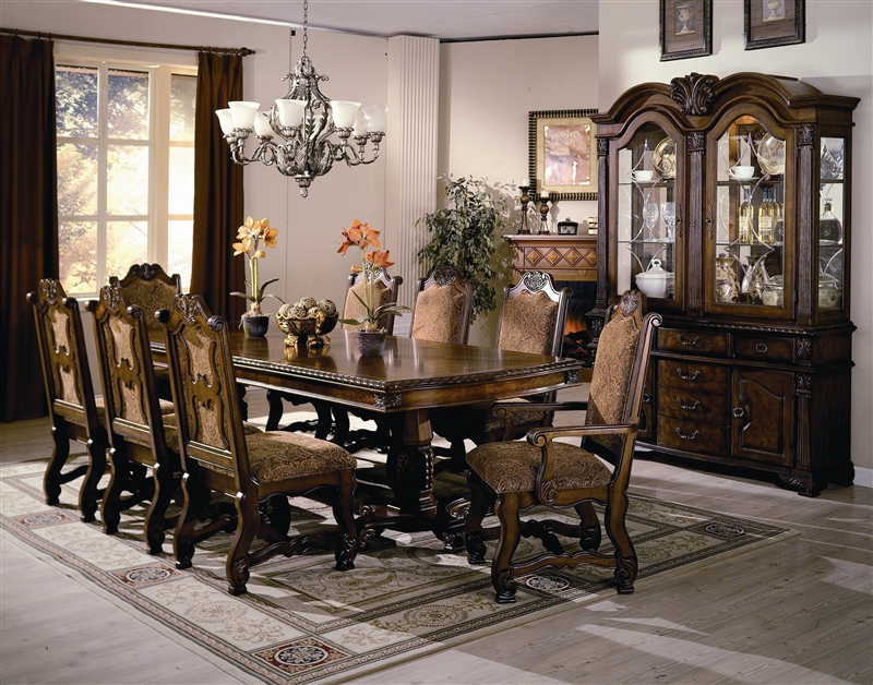 Neo Renaissance Complete Dining Set China Included In Burnished Cherry Finish By Crown Mark 2400c