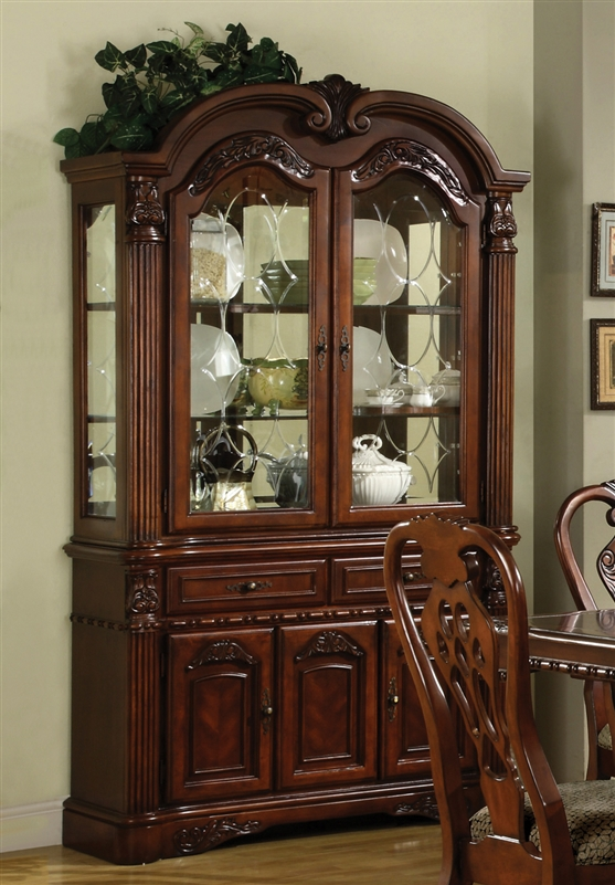 Brussels 7 Piece Dining Set In Cherry Finish By Crown Mark
