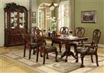 Brussels Complete Dining Set China Included in Cherry Finish by Crown Mark - 2470C