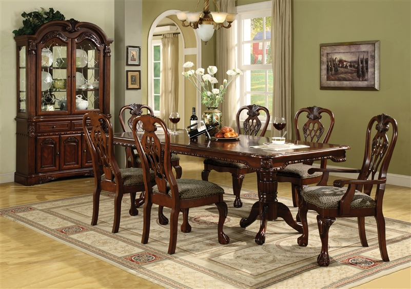 Brussels Complete Dining Set China Included In Cherry Finish By Crown Mark    2470C