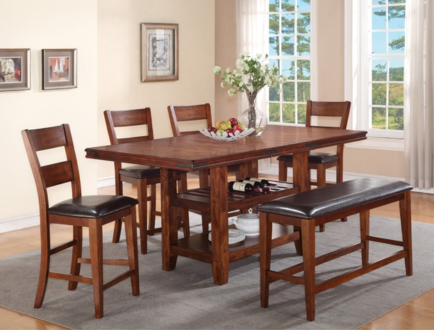 Peyton 5 Piece Counter Height Dining Set In In Cherry Finish By Crown Mark    2700