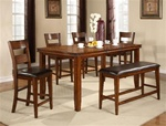 Figaro 6 Piece Counter Height Dining Set in Cherry Finish by Crown Mark - 2701