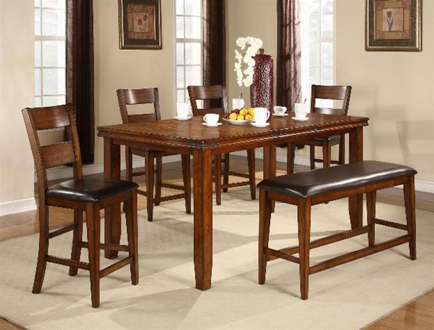 Exceptional Figaro 6 Piece Counter Height Dining Set In Cherry Finish By Crown Mark    2701