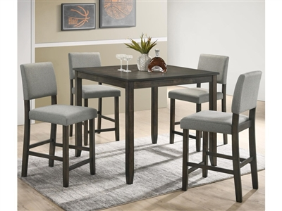 Derick 5 Piece Counter Height Dining Set in Grey Finish by Crown Mark - CM-2708GY