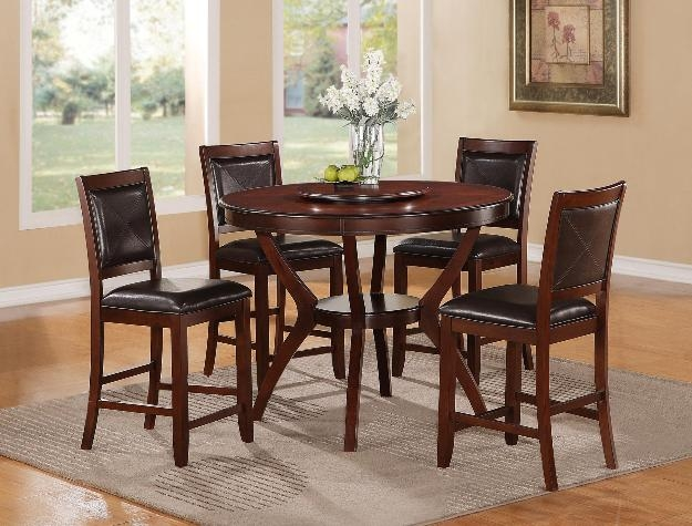Brownstown Round Table 5 Piece Counter Height Dining Set in Espresso Finish by Crown Mark - 2717-48 & Brownstown Round Table 5 Piece Counter Height Dining Set in Espresso ...