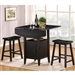 Kirin 3 Piece Counter Height Dining Set in Black Finish by Crown Mark - 2720