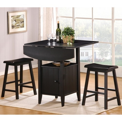 Superior Kirin 3 Piece Counter Height Dining Set In Black Finish By Crown Mark   2720