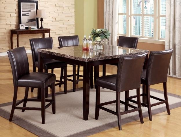 ferrara 7 piece counter height dining set in espresso finish by crown mark 2721. Black Bedroom Furniture Sets. Home Design Ideas