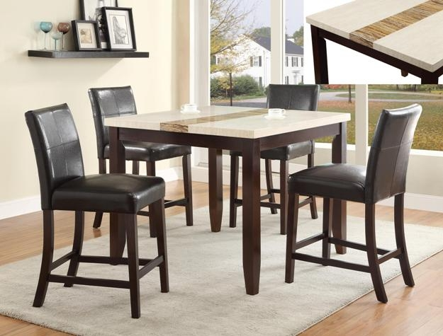larissa cream table top 5 piece counter height dining set in espresso finish by crown mark