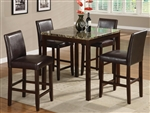 Anise 5 Piece Counter Height Set in Brown Cherry Finish by Crown Mark - 2724