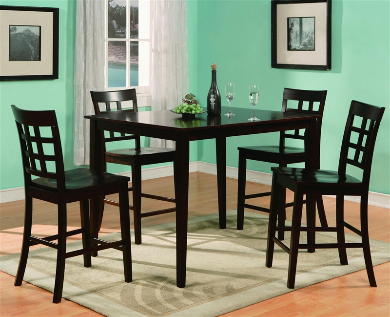 Austin 5 Piece Counter Height Dining Set In Espresso Finish By Crown Mark    2725