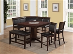 Harrison 4 Piece Corner Counter Height Dining Set in Warm Brown Finish by Crown Mark - 2726-4