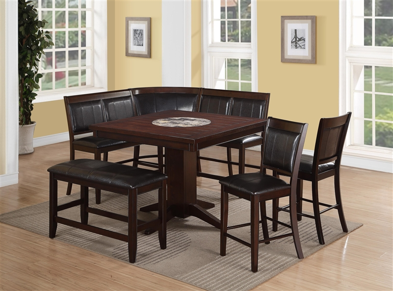 harrison 5 piece counter height dining set in warm brown finish by crown mark