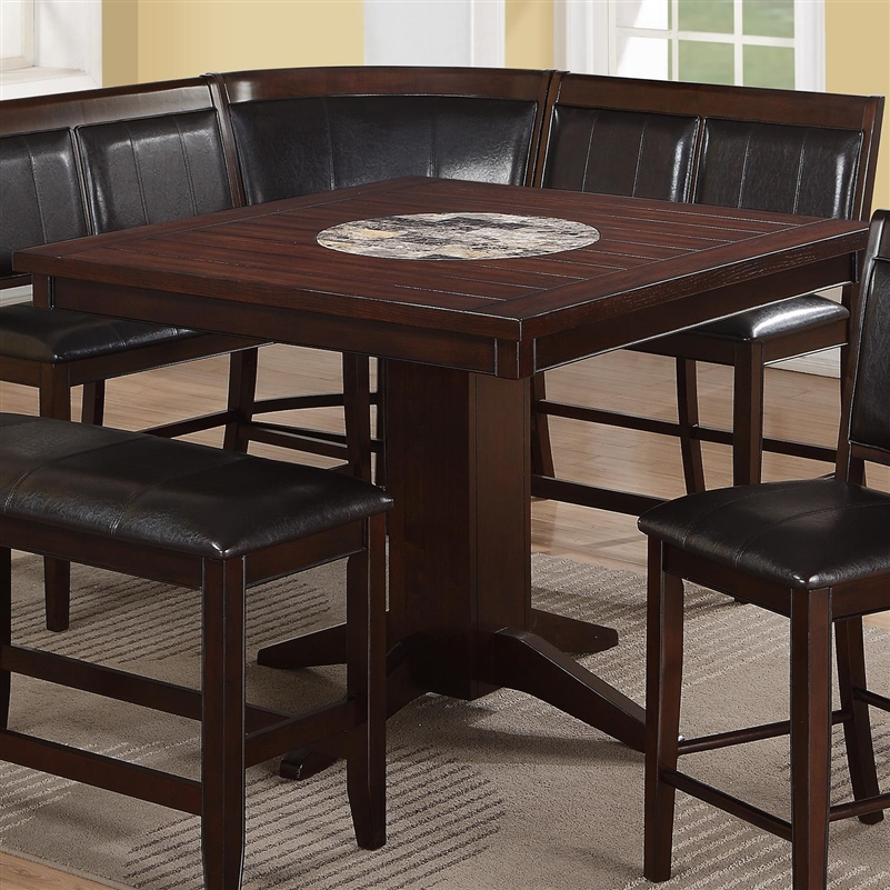 Harrison 5 Piece Counter Height Dining Set In Warm Brown Finish By Crown  Mark   2726 5