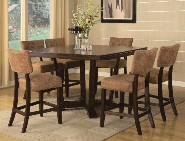 Lily 8 Piece Complete Counter Height Dining Set Curio Included In Espresso  Finish By Crown Mark ...