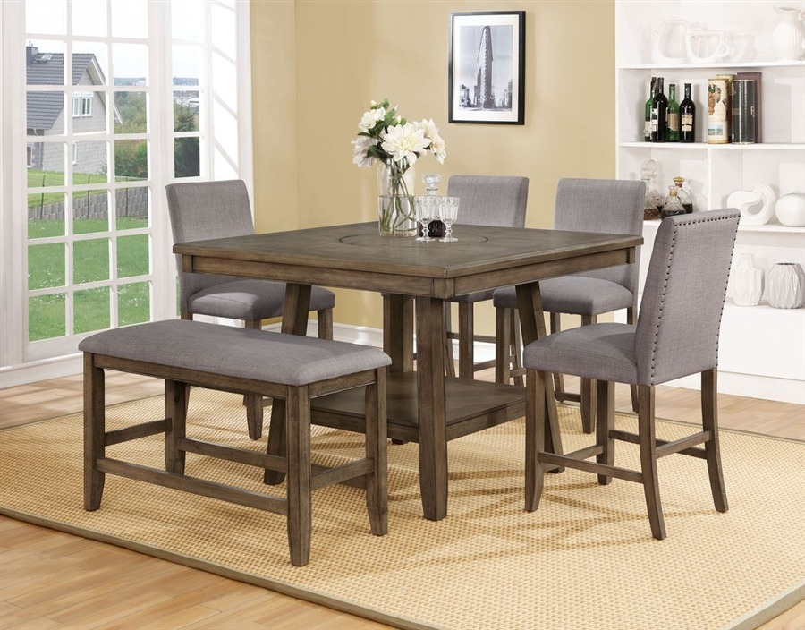 Manning 5 Piece Counter Height Dining Set In Brown Grey Finish By Crown Mark Cm 2731