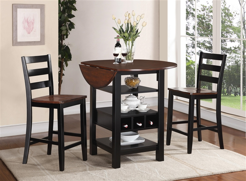 Kimball 3 Piece Counter Height Dining Set In Black And Cherry Two Tone  Finish By Crown Mark   2733
