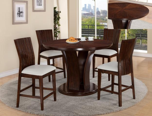daria 5 piece counter height dining set in espresso finish by crown mark 2734wh
