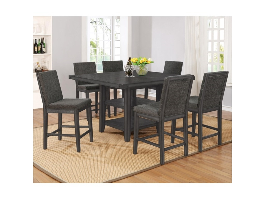 Matheny 5 Piece Counter Height Dining Set In Grey Brown Finish By Crown Mark Cm 2735