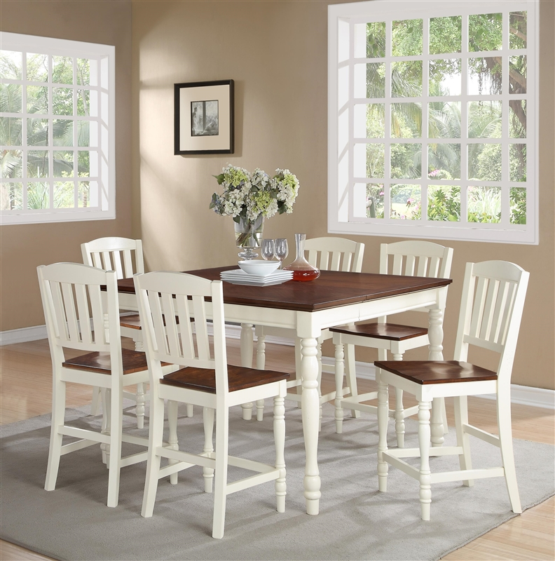 Ramona 5 Piece Counter Height Dining Set In Antique White And Walnut Two  Tone Finish By ...