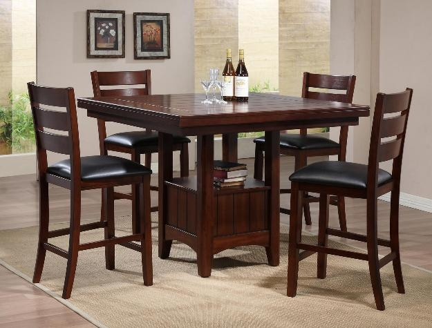 5 Piece Counter Height Dining Set in Walnut Finish by Crown Mark 2751