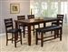 Bardstown 6 Piece Counter Height Dining Set in Walnut Finish by Crown Mark - 2752-6
