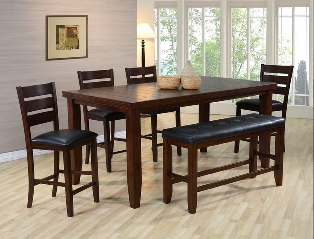 Bardstown 6 Piece Counter Height Dining Set In Walnut Finish By Crown Mark    2752 6