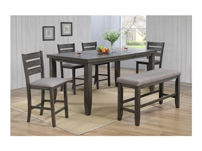 Bardstown 5 Piece Counter Height Dining Set in Grey Finish by Crown Mark - CM-2752GY