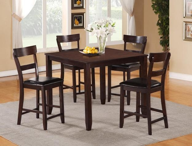 Henderson 5 Piece Counter Height Dining Set In Espresso Finish By Crown  Mark   2754