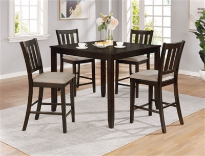 Amber 5 Piece Counter Height Dining Set in Charcoal Finish by Crown Mark - CM-2762-5PK