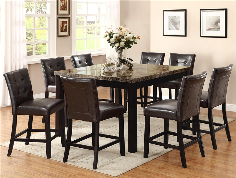 Bruce 5 Piece Counter Height Dining Set In Espresso Finish By Crown Mark 2767