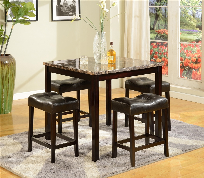 Kinsey 5 Piece Counter Height Faux Marble Top Dining Set In Espresso Finish  By Crown Mark   2773