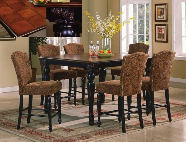 Erica 7 Piece Counter Height Dining Set In Black/Cherry Finish By Crown  Mark   2774