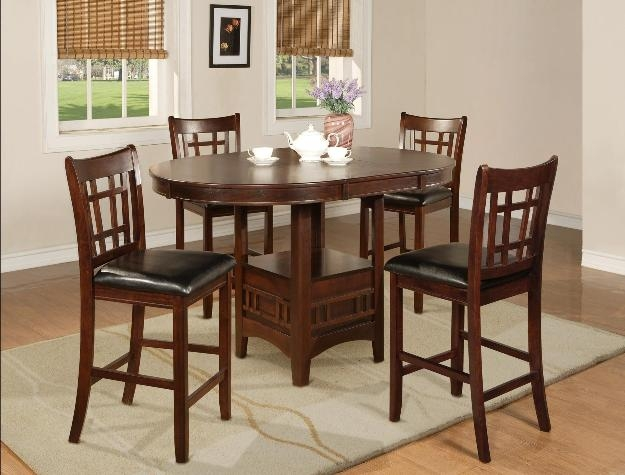 Hartwell 5 Piece Counter Height Dining Set In Dark Oak Finish By Crown Mark    2795